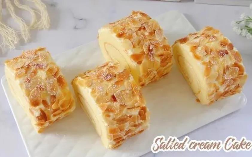 深圳烘焙培训学校教你做咸奶油杏仁蛋糕卷
